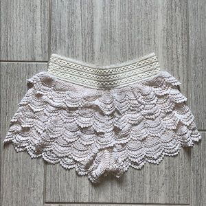 Jolt Shorts - Cream Crochet Shorts